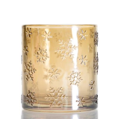 New Design Luxury Snowflake Pattern Empty Glass Candle Cup Holder Round Gold Clear Candle Jar