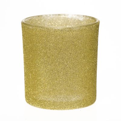 Custom Golden Luxury Empty Glass Candle Cup Holder Round Glass Candle Jar